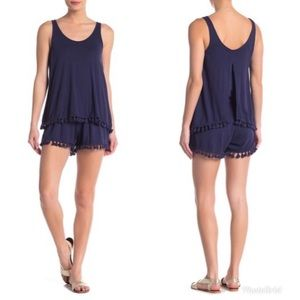 MICHAEL STARS Scoop Neck Layered Tassel Romper